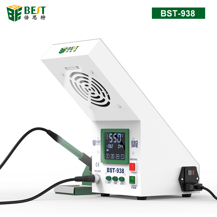 BST-938 Multi-funcational 3 in 1 LED light Soldering Smoke Absorber Soldering Iron Station