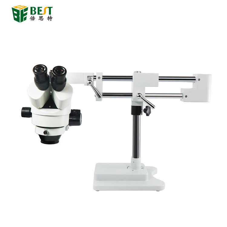 Double Boom Adjustable Stand Zoom Simul Focal Trinocular Stereo Microscope