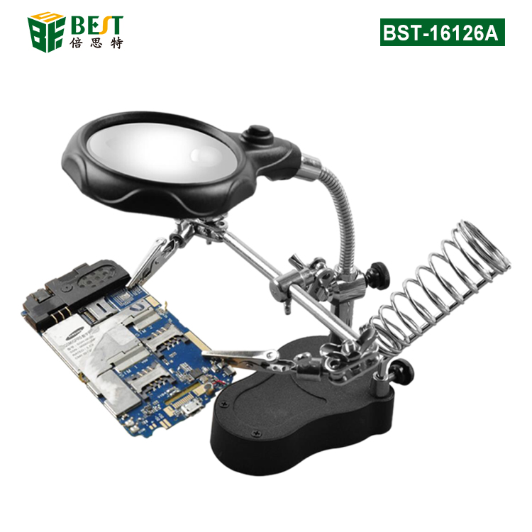 BST-16126A Helping Hand Clip Clamp LED Magnifying Glass Soldering Iron Stand Magnifier