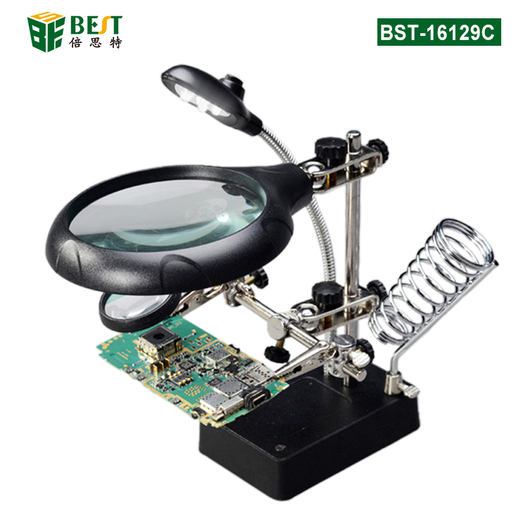 BST-16129C 5 LED Auxiliary Clip Magnifier 3 in 1 Magnifying Glass with Solder Iron Stand Holder