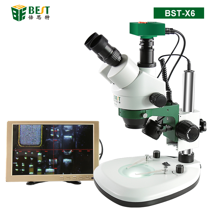 BST-X6 Video Stereo Trinocular 3D Digital Microscope with Camera